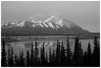 Purple mountains and lake at dusk. Alaska, USA ( black and white)