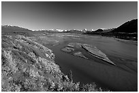 Wide river and autumn colors on the tundra. Alaska, USA ( black and white)