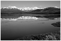 Lake with snowy peaks reflected. Alaska, USA ( black and white)