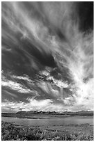 Big sky, clouds, tundra and lake. Alaska, USA (black and white)