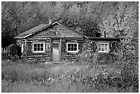 Wooden cabin. Alaska, USA ( black and white)