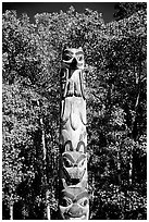 Totem pole, University of Alaska. Fairbanks, Alaska, USA (black and white)