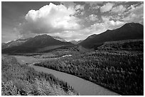 Matanuska River and Chugach mountains in summer, afternoon. Alaska, USA ( black and white)