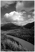 Matanuska River and Chugach mountains in summer. Alaska, USA (black and white)