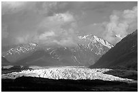 Matanuska Glacier, mountains, and clouds. Alaska, USA ( black and white)