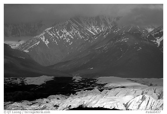 Light shining on Matanuska Glacier. Alaska, USA (black and white)