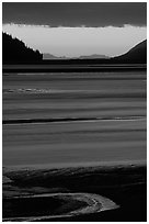 Tidal flats at sunset, Turnagain Arm. Alaska, USA (black and white)