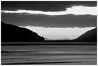 Fjord at sunset, Turnagain Arm. Alaska, USA (black and white)