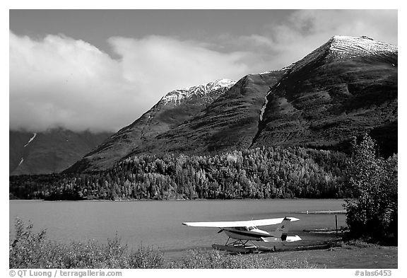 Floatplane, Lake, and mountains. Alaska, USA