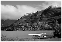 Floatplane, Lake, and mountains. Alaska, USA (black and white)