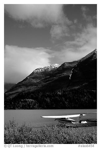 Floatplane in Lower Summit Lake. Alaska, USA (black and white)