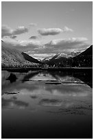 Tern Lake in late afternoon. Alaska, USA ( black and white)
