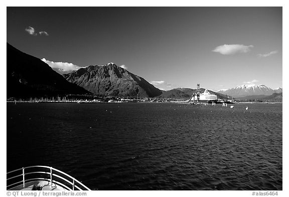 Seward seen from the deck of a ship on Resurection Bay. Seward, Alaska, USA (black and white)