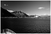 Seward seen from the deck of a ship on Resurection Bay. Seward, Alaska, USA ( black and white)
