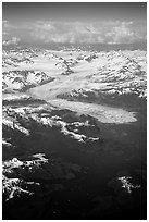 Aerial view of the Columbia Glacier. Prince William Sound, Alaska, USA ( black and white)