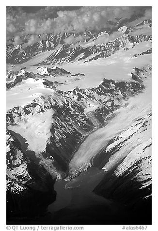 Aerial view of Glaciers and Fjords in Prince William Sound. Prince William Sound, Alaska, USA (black and white)