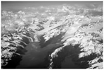Aerial view of tidewater glaciers in Prince William Sound. Prince William Sound, Alaska, USA (black and white)