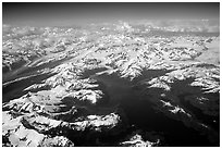 Aerial view of Glaciers in Prince William Sound. Prince William Sound, Alaska, USA ( black and white)