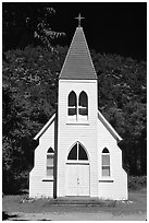 White church. California, USA (black and white)