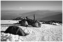 Mountaineers camping on the slopes of Mt Shasta. California, USA ( black and white)
