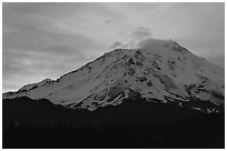 Sunset and clouds above Mt Shasta. California, USA (black and white)