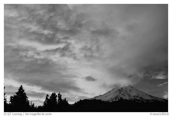 Clouds over Mt Shasta at sunset. California, USA (black and white)