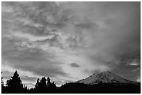 Clouds over Mt Shasta at sunset. California, USA ( black and white)