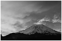 Fiery sky over Mount Shasta at sunset. California, USA ( black and white)