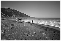 Backpacking on black sand beach, Lost Coast. California, USA (black and white)