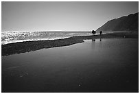 Pool and hikers, Lost Coast. California, USA ( black and white)