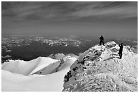 Mountaineers on the summit of Mt Shasta. California, USA ( black and white)