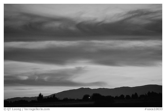 Sunset, Sacramento Valley. California, USA (black and white)