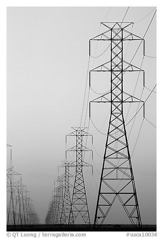 High tension power lines at dusk. California, USA (black and white)