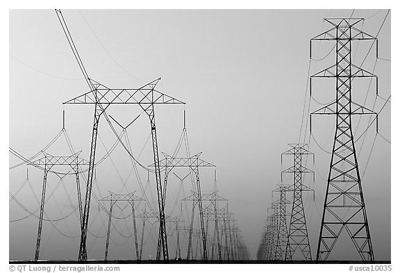 High voltage power lines at dusk. California, USA (black and white)
