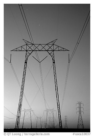 High voltage power lines at sunset. California, USA (black and white)