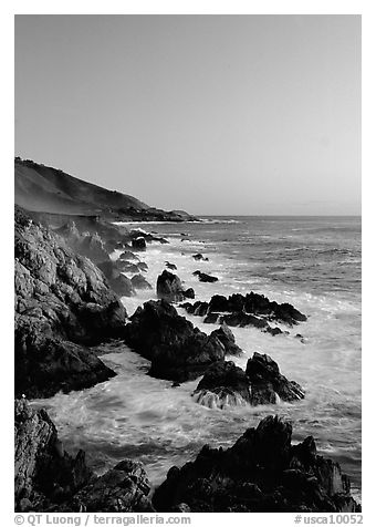 Surf and rocks at sunset, Garapata State Park. Big Sur, California, USA (black and white)