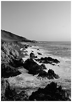 Surf and rocks at sunset, Garapata State Park. Big Sur, California, USA ( black and white)