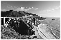 Bixby creek bridge, late afternoon. Big Sur, California, USA ( black and white)