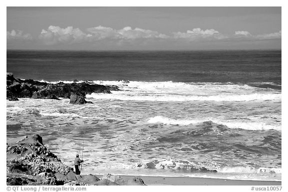 Fisherman, Bean Hollow State Beach. San Mateo County, California, USA (black and white)