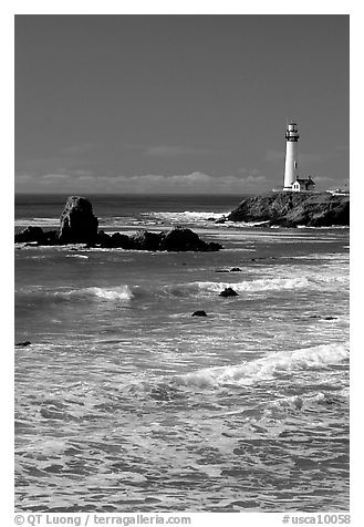 Surf and Pigeon Point Lighthouse, morning. San Mateo County, California, USA (black and white)