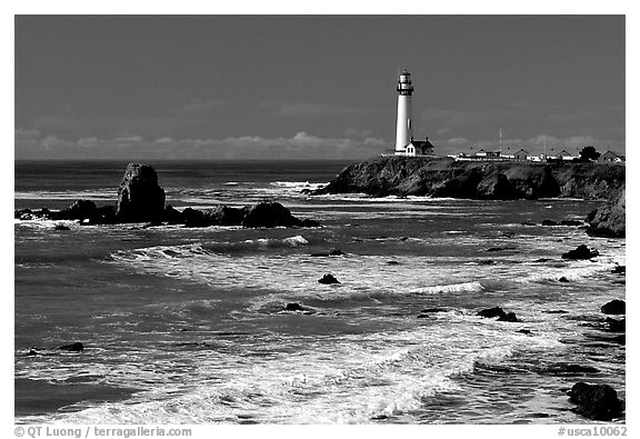 Pigeon Point Lighthouse and waves, morning. San Mateo County, California, USA