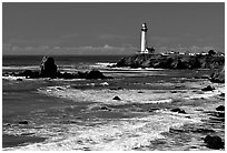 Pigeon Point Lighthouse and waves, morning. San Mateo County, California, USA (black and white)
