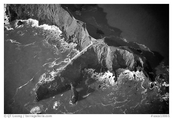 Aerial view of Bonita Lighthouse. California, USA (black and white)
