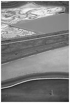 Aerial view of marsh patches. Redwood City,  California, USA ( black and white)