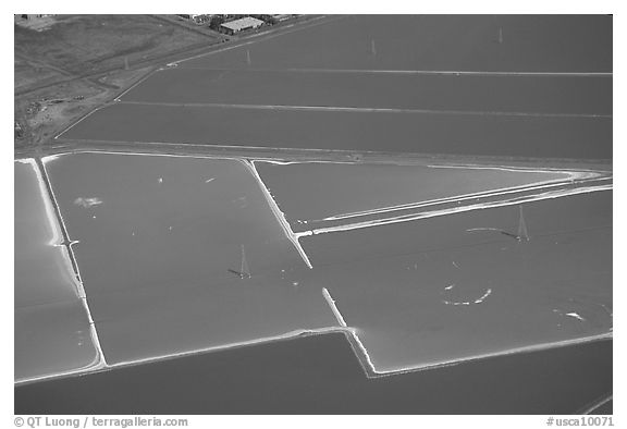 Aerial view of salt pond colorful patches. Redwood City,  California, USA (black and white)