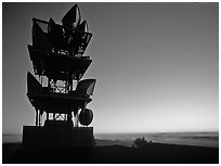 Antennas of communication relay.  Mt Diablo State Park. California, USA (black and white)
