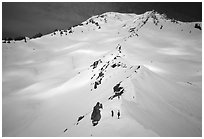 Mount Shasta with climbers on Green Ridge. California, USA ( black and white)