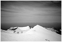 Climbers on the Green Ridge of Mount Shasta. California, USA ( black and white)