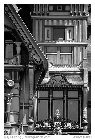 Detail of the Carson Mansion facade. California, USA (black and white)