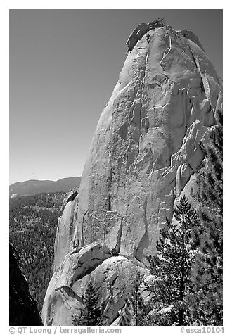 Granite pinnacle, the Needles, Giant Sequoia National Monument. California, USA (black and white)